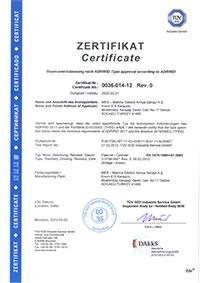 0,5-l. Alüminyum Dalış Tüpü Sertifikası