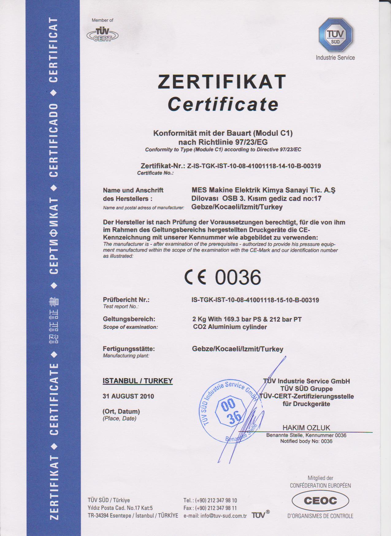 2 kg. 212 Bar Alüminyum Yangın Tüpü Sertifikası