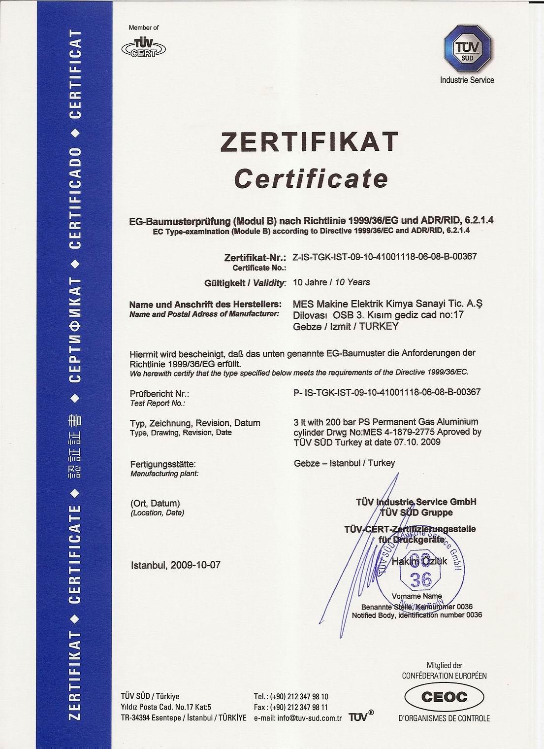 3-lt-Endüstriyel Tüp Sertifikası