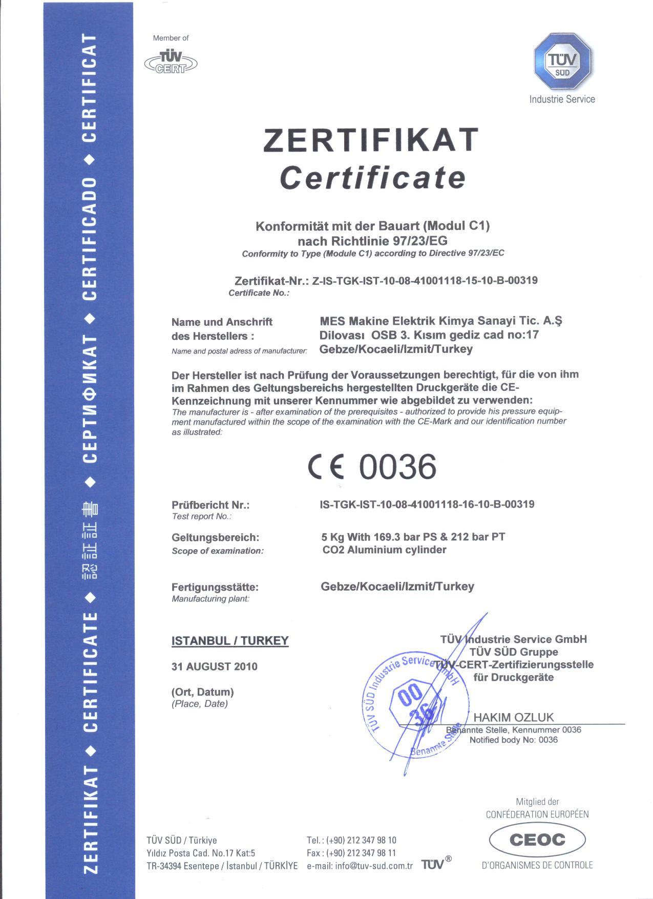 5 kg. 212 Bar Alüminyum Yangın Tüpü Sertifikası