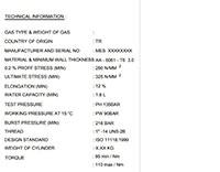Alüminyum Endüstriyel Gaz Tüpleri Teknik Bilgiler